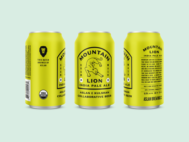 Mountain Lion IPA - Aslan Version beverage ipa retro vintage kulshan aslan illustration badge brewing can branding bellingham packaging beer logo