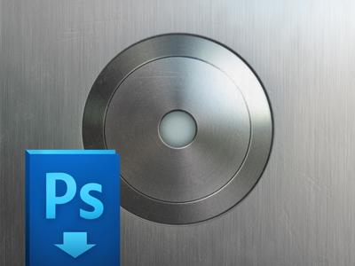 Elevator Button (free PSD) ui button metal metalic interface round