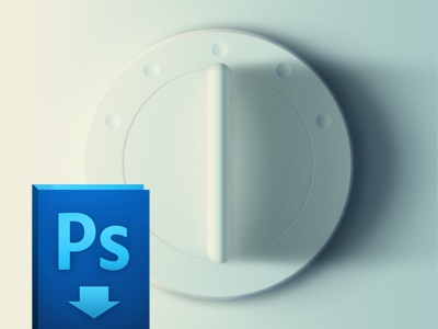 Dial, free PSD ux ui button knob dial selector 3d realistic white free