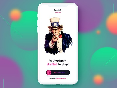Debut invite slide button basketball ux ui app blur colorful shapes drafted uncle sam debut