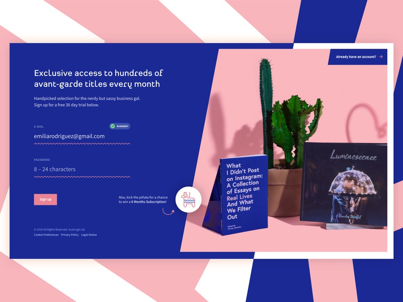 Trial Sign Up for a Book Club entrepreneur book club books female website ui blue pink fun flat photography blue and pink trial web girly form sign up 001 dailyui 001 dailyui