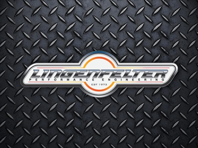Lingenfelter Performance Engineering Emblem engineering performance identity design branding chrome orange diamond plate tech logo emblem car automobile automotive