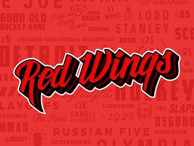 Red Wings Script hand lettering wordmark sports logo logomark branding michigan illustration hockey text detroit logotype design sports