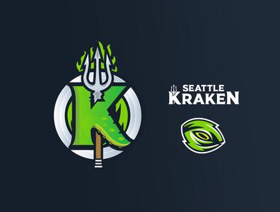 Seattle Kraken logomark emblem washington state trident eye storm green branding wordmark sports design hockey logo seattle uniform espn kraken hockey nhl