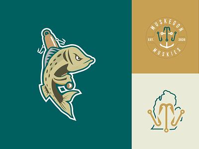 Muskegon Muskies Baseball lure lake muskies fish sports logo branding logo jersey design concept logo baseball michigan green gold emblem sports illustration