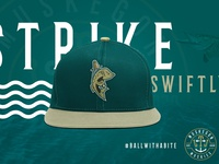Muskegon Muskies Baseball Cap baseball cap logomark sports branding illustration logo michigan emblem fishing rod fishing brand identity brand design sports design baseball