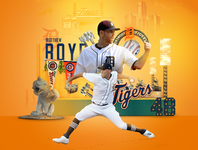Detroit Tigers Opening Day skyline lights stadium motor city cars pistons art direction design manipulation michigan social media sports sports branding sports design baseball opening day tigers detroit mlb
