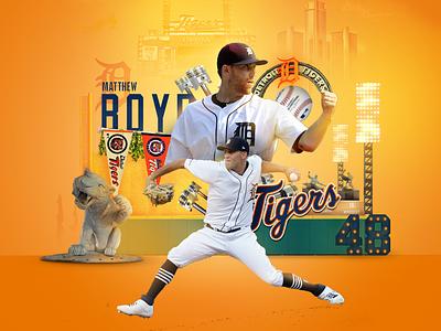 Detroit Tigers Opening Day skyline lights stadium motor city cars pistons art direction design manipulation michigan social media sports sports branding sports design baseball opening day tigers detroit mlb