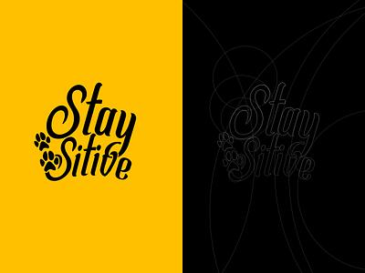 Stay Pawsitive Logo hand drawn design logomark dog illustration logo branding illustration pet care paw print paw dog logo dog