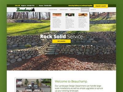Beauchamp Lawn Care ux ui slider mega menu mega nav responsive web design landscaping beauchamp lawn care web development