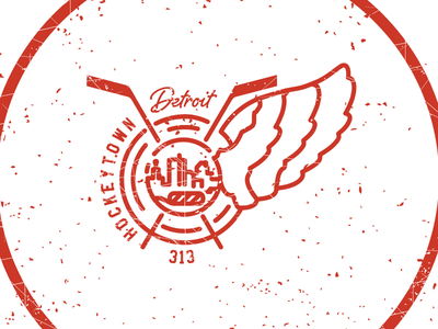 Hockeytown Detroit Apparel Design michigan skyline illustration authentic city pizza little caesers detroit hockey nhl red wings