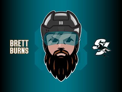 Brett Burns: No-Shave November sports movember no shave november sharks illustration helmet mascot character nhl hockey california san jose