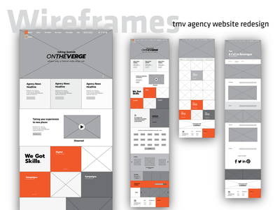 TMV Agency Website Wireframes work page landing page research component design component library design interaction interface wireframes uiux advertising agency website