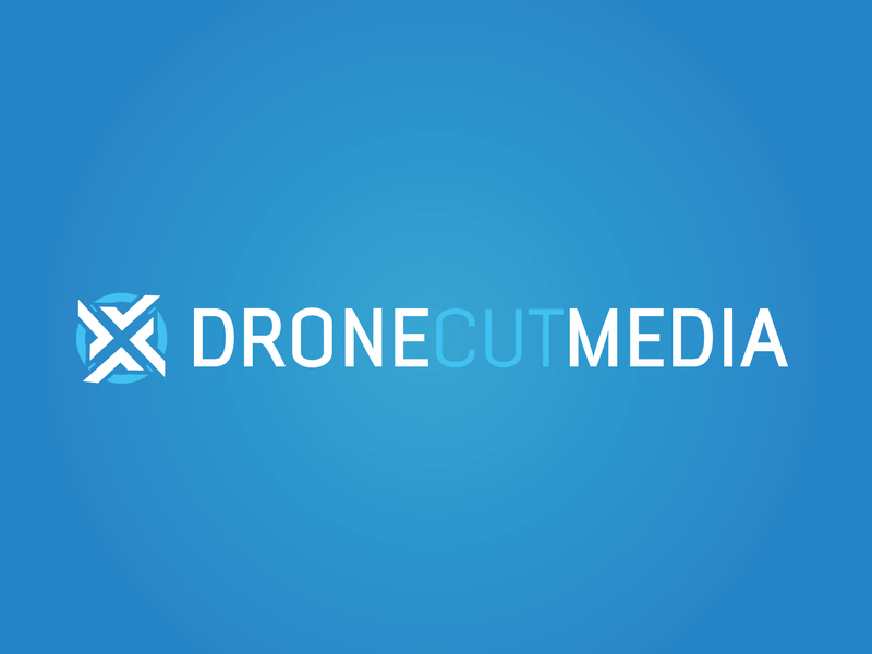 Drone Cut Media Logo logotype design aerial cinematography typography branding vector blue drone logotype design logo illustration
