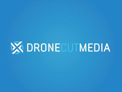 Drone Cut Media Logo logotype design aerial cinematography typography branding vector blue drone logotype design logo illustration