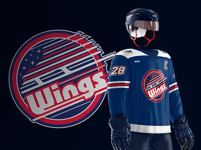 Kalamazoo Wings Jersey 2019 - Affiliate Night Design utica flag usa canada canucks vancouver jersey design branding sports design emblem sports michigan nhl hockey wings kalamazoo echl
