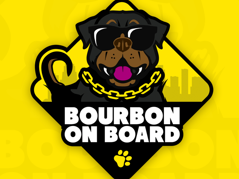 Bourbon On Board sunglasses face yellow vector illustration emblem sticker rottweiler breed dog paw print paw