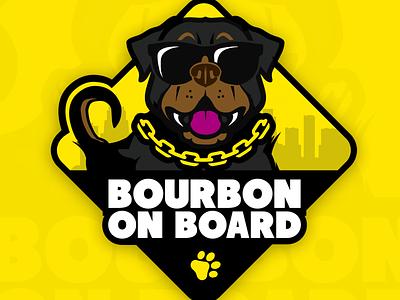 Bourbon On Board sunglasses face yellow vector illustration emblem sticker rottweiler breed dog paw print paw