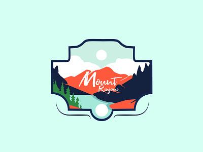 Rinjani Mount vector sketch mountain mount line art logo retro branding adventure badge design illustration
