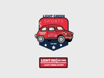 Light Green Sports ui sketch summer car logodesign logotype typography flat logo branding design retro badge vector line art illustration