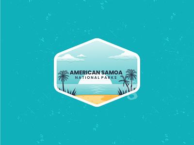 American Samoa adventure logo adventure 3d motion graphics animation graphic design branding line art flat ui logo retro design badge vector illustration