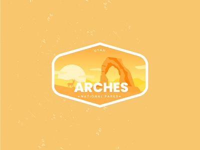 Arches  National Park animation 3d branding sticker line art ui arches nationalparks vector flat logo retro design badge illustration