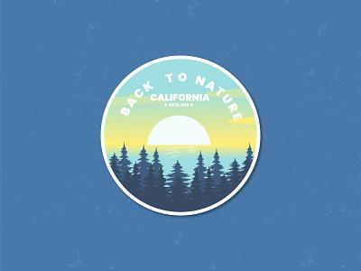 California Nature graphic design adobe blue nature branding ui retro vector logo summer flat design badge line art illustration