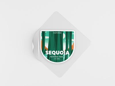 Sequoia National Park t-shirt sticker sequoia national park graphic design ui branding logo retro flat design badge vector line art illustration