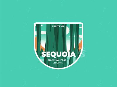 Sequoia ui 3d motion graphics graphic design decal usa sequoia national park flat branding logo retro design badge vector line art illustration