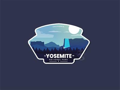 Yosemite National Park app mountain typography adventure logo animation 3d graphic design adventure ui flat line art yosemite summer logo branding retro design badge vector illustration