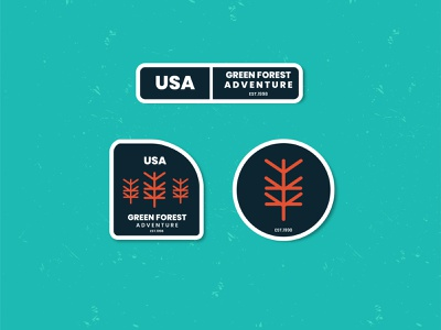 Green Forest flat line art forest animation ui 3d graphic design vintage summer green design branding logo retro vector badge illustration