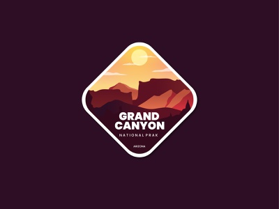 Grand Canyon animation motion graphics summer 3d forest park grandcanyon graphic design flat branding logo ui retro badge design vector line art illustration