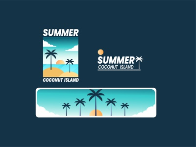 Summer Coconut adventure logo sea tshirt motion graphics animation graphic design 3d island coconut summer branding flat vector retro ui logo design badge line art illustration