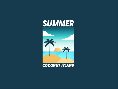 Summer Coconut 3d animation motion graphics graphic design sea tshirt adventure summer ui flat badge branding logo retro design line art vector illustration