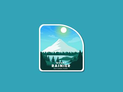 Rainier Mount mountain sea adventure logo christmas day summer tree 3d animation motion graphics graphic design ui branding logo retro flat design badge vector line art illustration