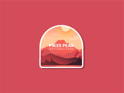 Pikes Peak National Park sketch adventure logo usa national park summer 3d motion graphics graphic design animation moutain ui branding flat logo retro line art design badge vector illustration
