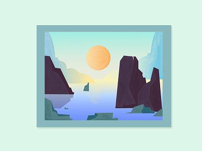 Moutain Sea line art sketch adventure badge ui retro flat simple mountain sea summer vector design illustration