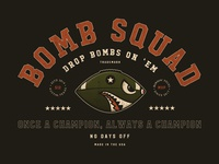 Bombsquad football logo footballer vintage atx type bombsaway bomb football