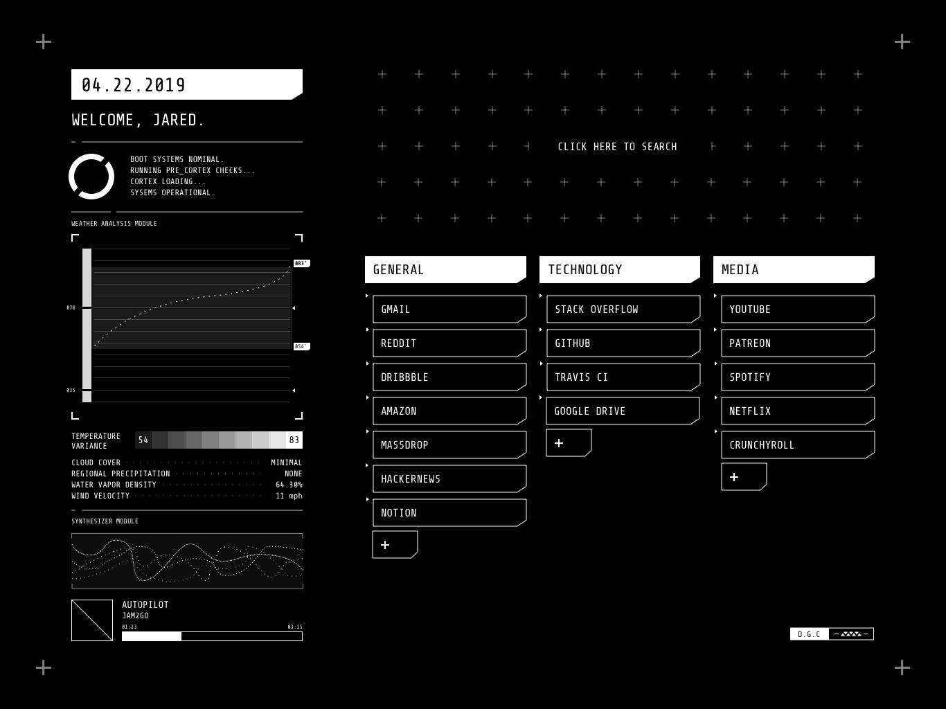 Sci-fi Startpage Concept web start page cyber sketch app startpage ui design cyber punk sci-fi