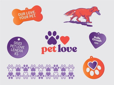 Pet Love Branding typography identity logo dog tag collar pet tag paw print pet love dog illustration dog pet love heart symbol branding