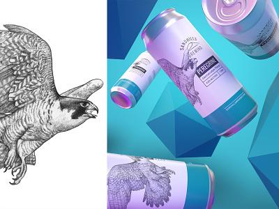 Sandhills Brewing Can Design beer branding beer label beer art beer can beer 3d dimensions dimension bird illustration bird illustration branding typography