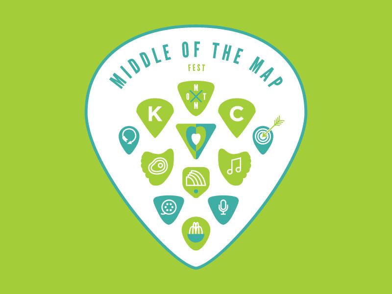 Middle of the Map   T-shirt Design guitar picks picks guitar icon iconography map middle middle of the map kansas city kc