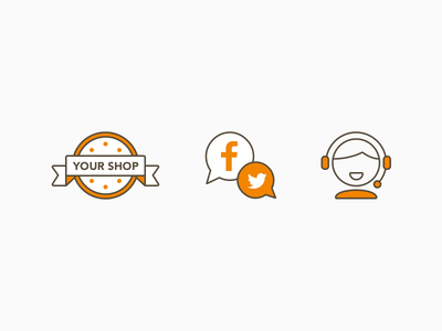 AfterShip Features Icons badge twitter facebook vector icon media help social shop aftership illustration ui