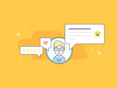 Customer Reviews Illustration vector illustration speak icon review customer page aftership ui smiley comment avatar
