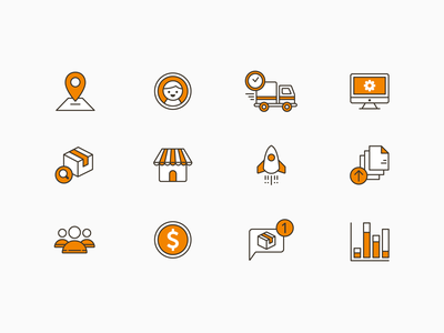 AfterShip Icons track search notification team ui upload analytic shop avatar illustration icon aftership