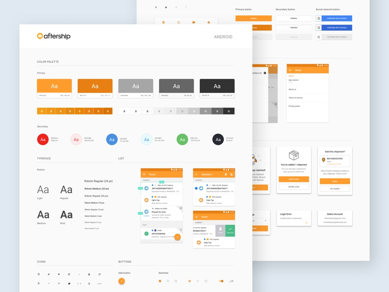 aftership ui style guide android by michelle yuen dribbble rh dribbble com android style guide icons android style guide github