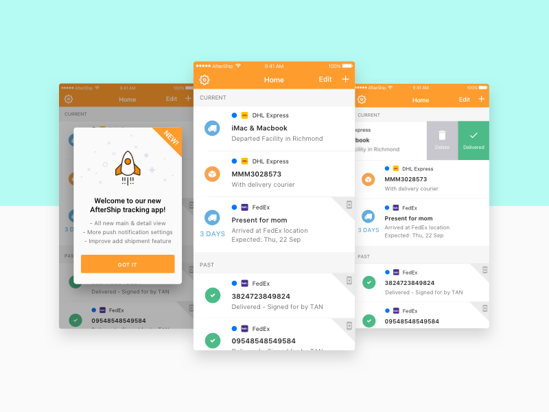 AfterShip iOS App by Michelle Yuen on Dribbble