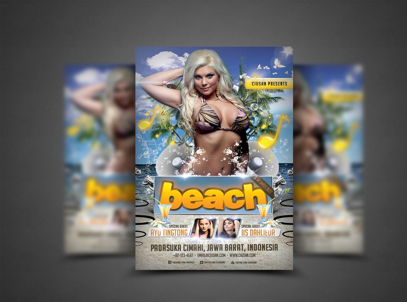 Beach Flyer Template illustration hot holiday happy graphic flyer element design decoration creative concept card blue beautiful beach banner background advertise abstract