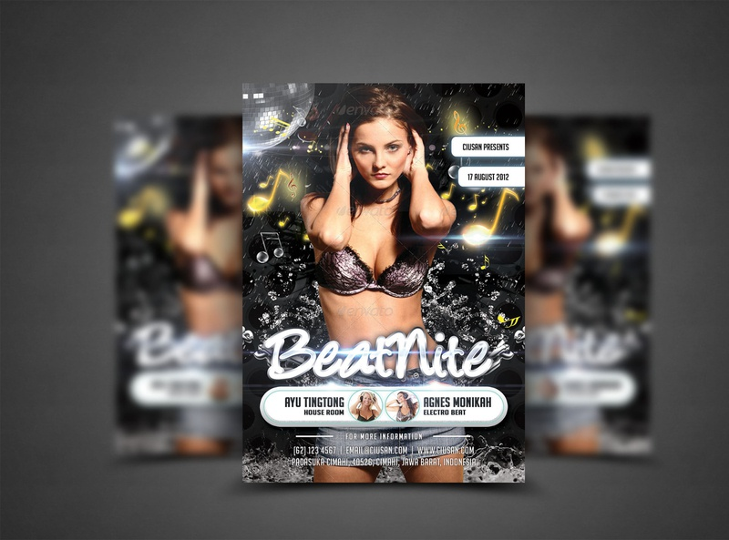 Beat Nite Flyer Template dj discotheque disco design dance creative cover concert club celebration card brochure billboard beat banner background audio advertising abstract