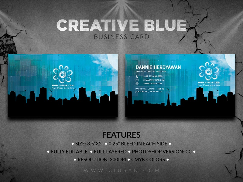 Creative Blue Business Card decoration decor creative corporate contact concept company clean card business branding blue blank banner background backdrop art advertise abstract